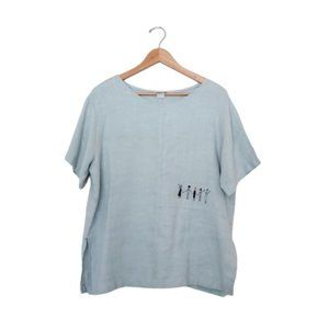 Embroidered People Boxy Linen Top